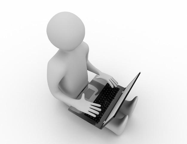 3d человек, работающий на ноутбуке