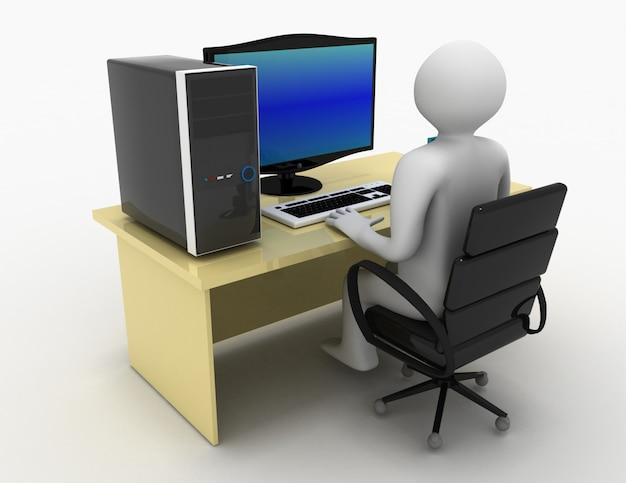 3d человек, работающий на компьютере