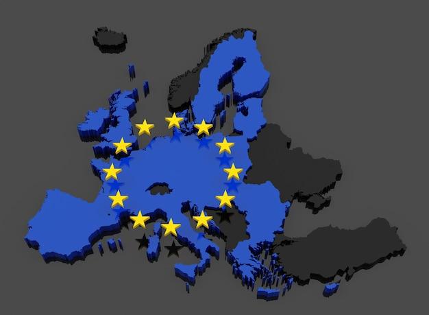 플래그가 있는 유럽 연합의 3d 지도 모든 27개 국가 포함