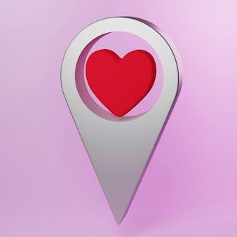 심장 아이콘이 있는 3d 지도 포인터 지도 마커는 위치 아이콘 개념 3d 그림을 사랑합니다.