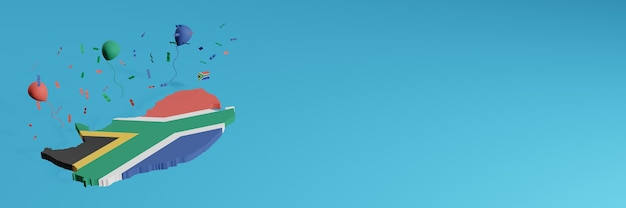 3d map rendering in combination with south africa country flag for social media and plus website background cover green blue red black balloons to celebrate independence day and national shopping day