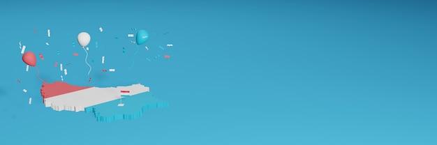 소셜 미디어를위한 룩셈부르크 국가 플래그와 결합 된 3d지도 렌더링 및 추가 된 웹 사이트 배경 표지 독립 기념일과 국가 쇼핑의 날을 축하하기 위해 흰색 파란색 빨간색 풍선