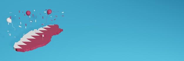 Визуализация 3d-карты в сочетании с флагом страны катара для социальных сетей и добавленная фоновая обложка веб-сайта. красные белые воздушные шары в честь дня независимости и национального дня покупок.