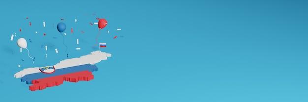 Визуализация 3d-карты в сочетании с флагом словении для социальных сетей и добавленным фоном веб-сайта покрывает красные сине-белые воздушные шары в честь дня независимости и национального дня покупок