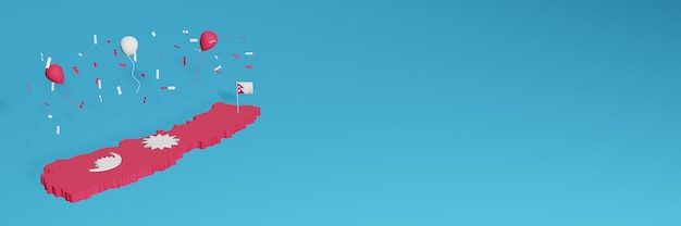 ソーシャルメディア用のネパールの国の旗と組み合わせた3dマップレンダリングと追加されたウェブサイトの背景カバー独立記念日と全国ショッピングデーを祝うための赤と白の風船