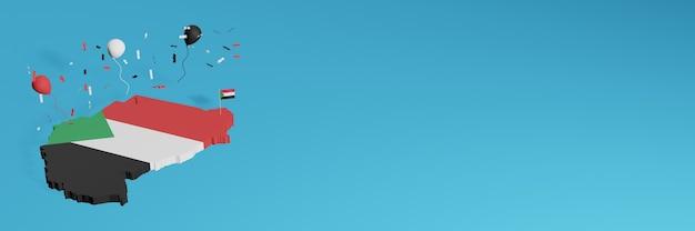 Рендеринг 3d-карты в сочетании с флагом судана для социальных сетей и добавленным фоном веб-сайта, покрывающим красные, зеленые, белые, черные шары, в честь дня независимости и национального дня покупок