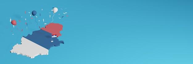 Визуализация 3d-карты в сочетании с флагом сербии для социальных сетей и добавленным фоном веб-сайта, покрывающим сине-красные белые воздушные шары в честь дня независимости и национального дня покупок