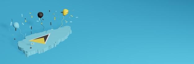 ソーシャルメディアのセントルシアの国旗と組み合わせた3dマップのレンダリング、および追加されたwebサイトの背景カバー独立記念日と全国ショッピングの日を祝うための黒黄青の風船