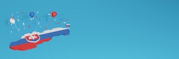 Визуализация 3d-карты в сочетании со словацким флагом для социальных сетей и добавленным фоном веб-сайта, покрывающим красные синие белые воздушные шары в честь дня независимости и национального дня покупок