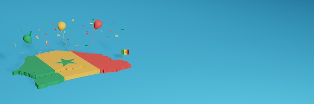 The 3d map rendering is combined with the senegal flag for social media and added website background covers red yellow hijua colored balloons to celebrate independence day and national shopping day