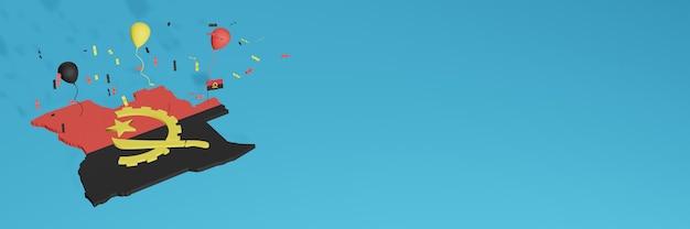 Визуализация 3d-карты флага анголы для социальных сетей и веб-сайта обложки