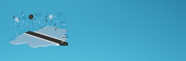 ソーシャルメディアとカバーウェブサイトのボツワナ国旗の3dマップレンダリング
