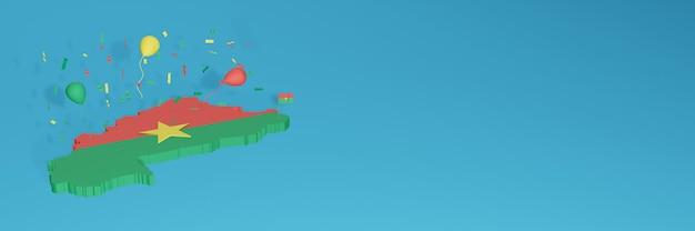 ソーシャルメディアとカバーウェブサイトのためのブルキナファソの旗の3dマップレンダリング