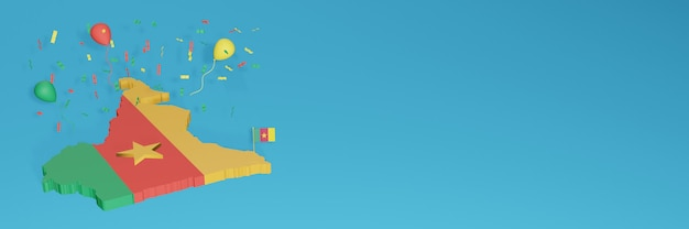 ソーシャルメディアとカバーウェブサイトのカメルーン国旗の3dマップレンダリング