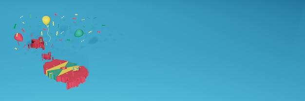 ソーシャルメディアとカバーウェブサイトのグレナダ旗の3dマップレンダリング