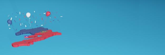 ソーシャルメディアとカバーウェブサイトのハイチの国旗の3dマップレンダリング