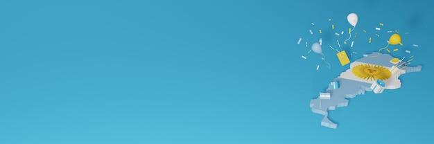 국가 쇼핑의 날과 독립 기념일을 축하하기 위해 아르헨티나 국기의 3d지도 렌더링