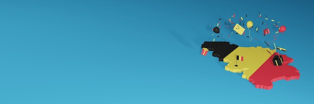 全国のショッピング日と独立記念日を祝うためのベルギーの旗の3dマップレンダリング