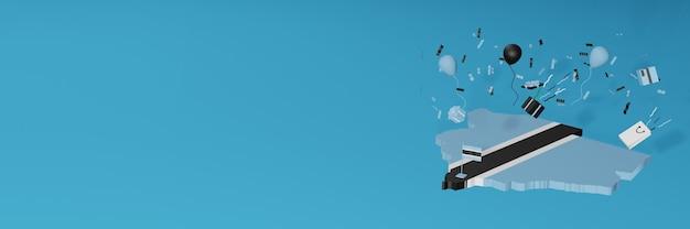 Визуализация 3d-карты флага ботсваны в честь национального дня покупок и дня независимости