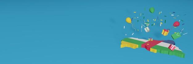 中央アフリカ共和国の国旗の3dマップレンダリングは、全国的なショッピングの日と独立記念日を祝います