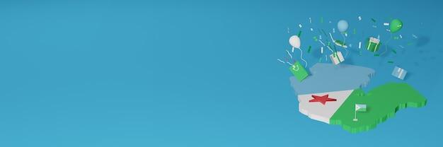 국가 쇼핑의 날과 독립 기념일을 축하하기 위해 지부티 국기의 3d지도 렌더링