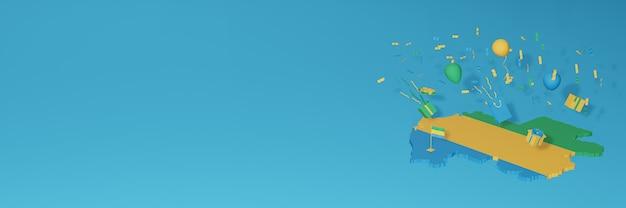 Визуализация 3d-карты флага габона в честь национального дня покупок и дня независимости