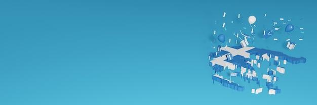 国民の買い物の日と独立記念日を祝うためのギリシャ国旗の3dマップレンダリング