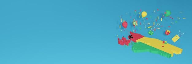 全国のショッピング日と独立記念日を祝うギニアビサウ旗の3dマップレンダリング