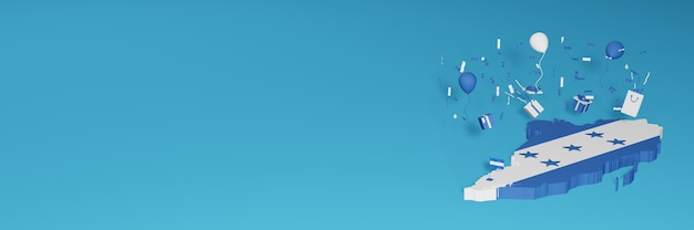 전국 쇼핑의 날과 독립 기념일을 축하하기 위해 온두라스 국기의 3d지도 렌더링