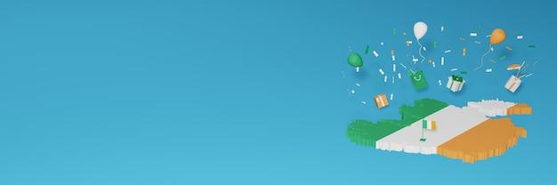전국 쇼핑의 날과 독립 기념일을 축하하기 위해 아일랜드 국기의 3d지도 렌더링