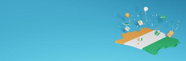 전국 쇼핑의 날과 독립 기념일을 축하하기 위해 코트 디부 아르 국기의 3d지도 렌더링