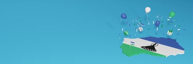 Визуализация 3d-карты флага лесото в честь национального дня покупок и дня независимости