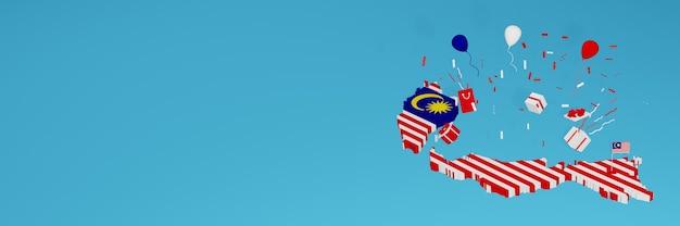 全国のショッピング日と独立記念日を祝うためのマレーシア国旗の3dマップレンダリング