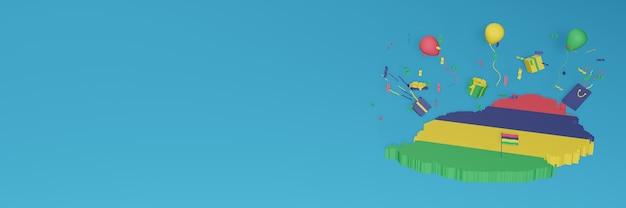 국가 쇼핑의 날과 독립 기념일을 축하하기 위해 모리셔스 국기의 3d지도 렌더링