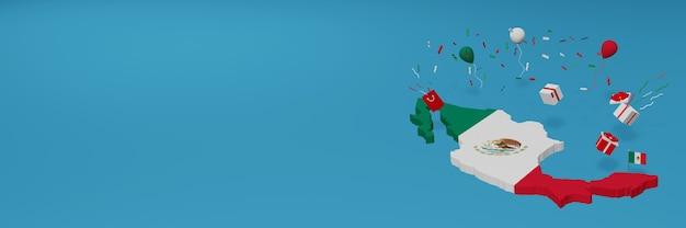 全国のショッピング日と独立記念日を祝うためのメキシコ国旗の3dマップレンダリング