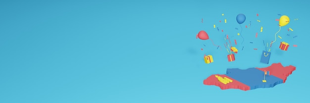Визуализация 3d-карты флага монголии в честь национального дня покупок и дня независимости