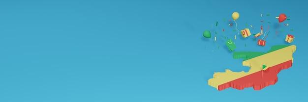 Визуализация 3d-карты флага республики конго в честь национального дня покупок и дня независимости