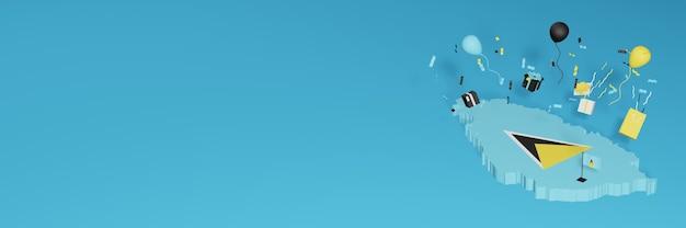 全国的なショッピングの日と独立記念日を祝うためのセントルシアの国旗の3dマップレンダリング