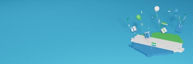 Визуализация 3d-карты флага сиера-леоне в честь национального дня покупок и дня независимости