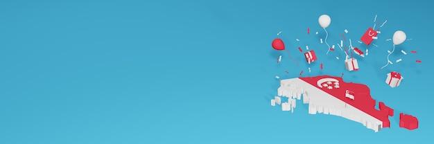 Визуализация 3d-карты флага сингапура в честь национального дня покупок и дня независимости