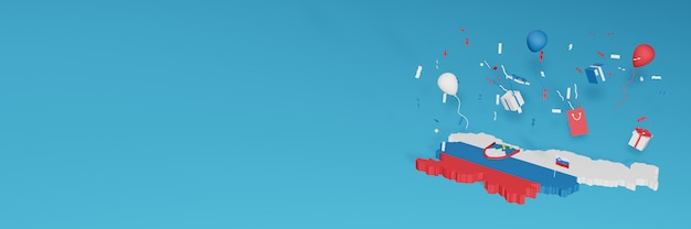 Визуализация 3d-карты флага словении в честь национального дня покупок и дня независимости