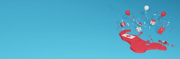 全国のショッピングデーと独立記念日を祝うトンガの国旗の3dマップレンダリング