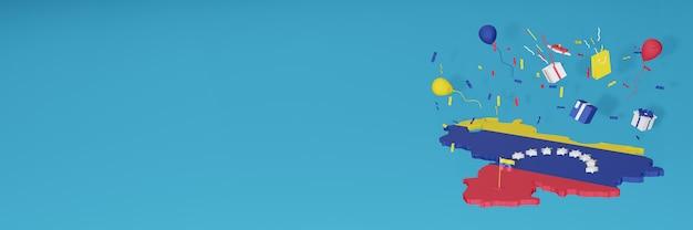全国的なショッピングの日と独立記念日を祝うベネズエラの旗の3dマップレンダリング