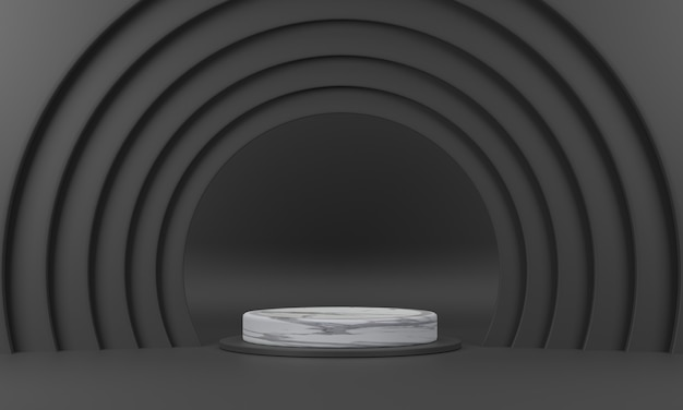 3d. marble circle podium the semicircular ring surrounds it in black color tones.