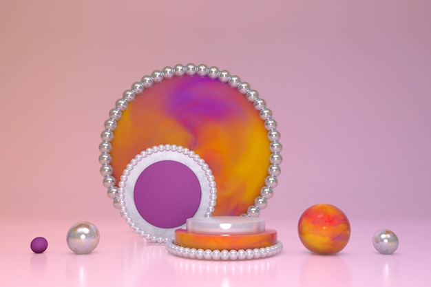 3d marble effect cylinder podium with gradient purple orange pattern and white shining pearl decoration border and circle on pink pastel background.