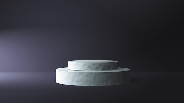 3d marble podium in a dark room interior