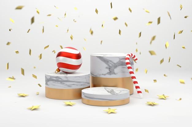 3d。展示用の大理石の表彰台クリスマスシーズンには、クリスマスボール、キャンディケイン、星。