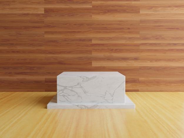 3d мраморный подиум геометрический с деревянным полом
