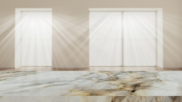 3d marble table against a defocussed room interior