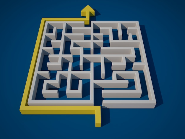 3d maze with arrow path